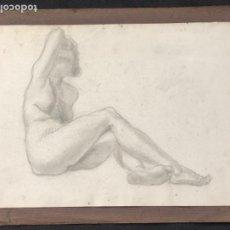 Arte: DIBUJO A LÁPIZ DESNUDO FEMENINO 1920'S. ANÓNIMO. . Lote 194363235