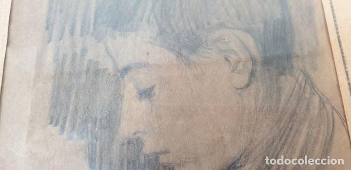 Arte: RETRATO DE NIÑO. DIBUJO AL GRAFITO SOBRE PAPEL. FIRMA ILEGIBLE. SIGLO XIX-XX. - Foto 5 - 180930545