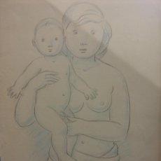 Arte: ORIGINAL. OBRA DE FRANCESC GASSÓ. MUJER Y NIÑO. MEDIDAS 21*31. Lote 194494126