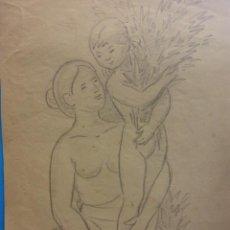 Arte: ORIGINAL. OBRA DE FRANCESC GASSÓ. MUJER Y NIÑO. MEDIDAS 21*29. Lote 194494560