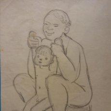 Arte: ORIGINAL. OBRA DE FRANCESC GASSÓ. MUJER Y NIÑO. MEDIDAS 13*18. Lote 194494736