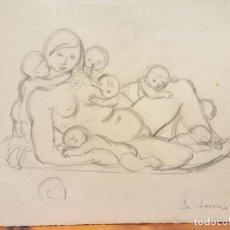 Arte: ORIGINAL. OBRA DE FRANCESC GASSÓ. MUJER Y NIÑOS. MEDIDAS 15*21. Lote 194494836
