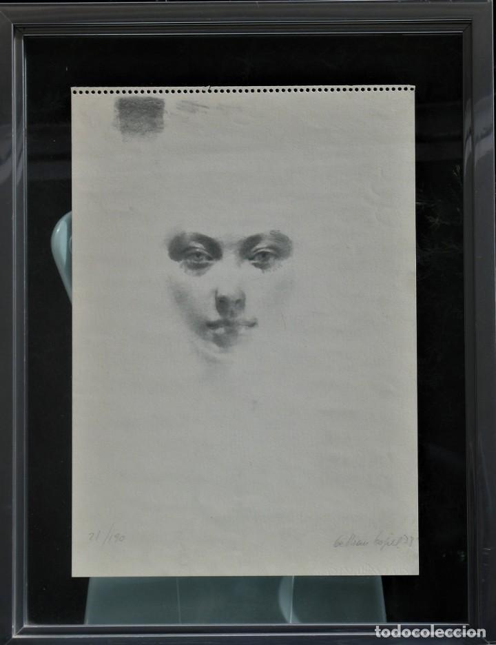 CARBONCILLO -ROSTRO DE MUJER- POR JOAN BELTRAN BOFILL. FIRMADO Y NUMERADO (Arte - Dibujos - Contemporáneos siglo XX)