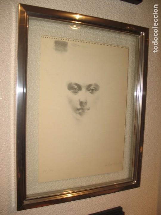 Arte: Carboncillo -Rostro de mujer- por Joan Beltran Bofill. Firmado y numerado - Foto 3 - 194513576