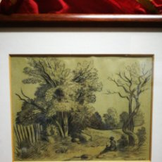 Arte: DIBUJO OBRA PAISAJE AL CARBÓN- FIRMADA POR ENCARNACIÓN SELLOL, ENMARCADA 45X38CM.. Lote 194514345