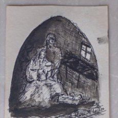 Arte: PEQUEÑO DIBUJO A TINTA NACIMIENTO , FIRMADO MARÍA M LAJARA. Lote 194540877