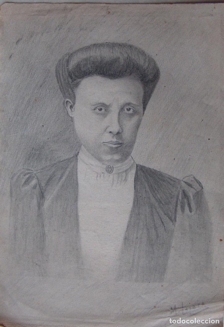 DIBUJO SEÑORA DE ÉPOCA (Arte - Dibujos - Contemporáneos siglo XX)