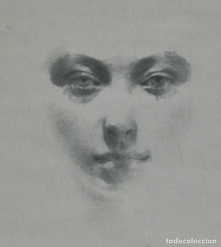 Arte: Carboncillo -Rostro de mujer- por Joan Beltran Bofill. Firmado y numerado - Foto 2 - 194513576