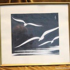 Arte: DIBUJO EN TINTA CHINA, SILUETAS DE GAVIOTAS, FIRMADO, 36 X 31,5 CM. Lote 194590728
