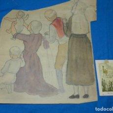 Arte: (M) DIBUJO BOCETO ORGINAL DE LA ESTAMPA DE NUESTRA SEÑORA DE MONTSERRAT S.XX. Lote 194669487