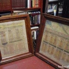 Arte: BOCETOS ARQUITECTURA FACHADA, EN PAPEL, LAPIZ Y COLOR, ENMARCADOS, 95X94 - 79X93 AÑO 1900. Lote 194685718