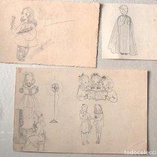 Arte: LOTE DE DIBUJOS ORIGINALES Y PRUEBA DE IMPRENTA DE POSTALES DE FERRANDIZ. Lote 194687065