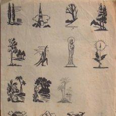 Arte: DOS CUARTILLAS CON DIBUJOS ILUSTRACIONES ORIGINALES EN TINTA , CON DIVERSOS DETALLES . Lote 194687461