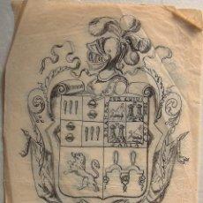 Arte: DIBUJO ORIGINAL ESCUDO HERÁLDICO TINTA SOBRE PAPEL CEBOLLA-VEGETAL,UNIÓN CASA PASCUAL CON OTRAS. Lote 194689672