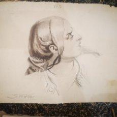 Arte: RETRATO PERFIL FEMENINO AÑO 1925. 23X31CM. Lote 194704736