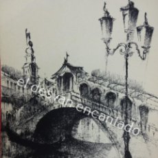 Arte: GUITART O SIMILAR. DIBUJO AL CARBONCILLO FIRMADO POR EL AUTOR. MOTIVOS VENECIANOS.24 X 15 CTMS. Lote 194714457
