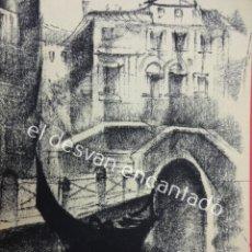 Arte: GUITART O SIMILAR. DIBUJO AL CARBONCILLO FIRMADO POR EL AUTOR. MOTIVOS VENECIANOS.24 X 15 CTMS. Lote 194714493