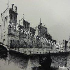 Arte: GUITART O SIMILAR. DIBUJO AL CARBONCILLO FIRMADO POR EL AUTOR. MOTIVOS VENECIANOS.24 X 15 CTMS. Lote 194714540