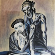 Arte: DIBUJO A MANO A CARBONCILLO O LAPIZ COLOR ENMARCADO FIRMADO AÑO 1969. Lote 194696720