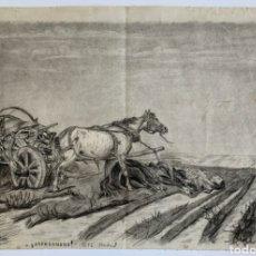 Arte: DIBUJO AL CARBONCILLO SIGLO XIX OBRA COSTUMBRISTA. FECHADO 1892 MADRID Y TITULADO ABANDONADO. Lote 194781238