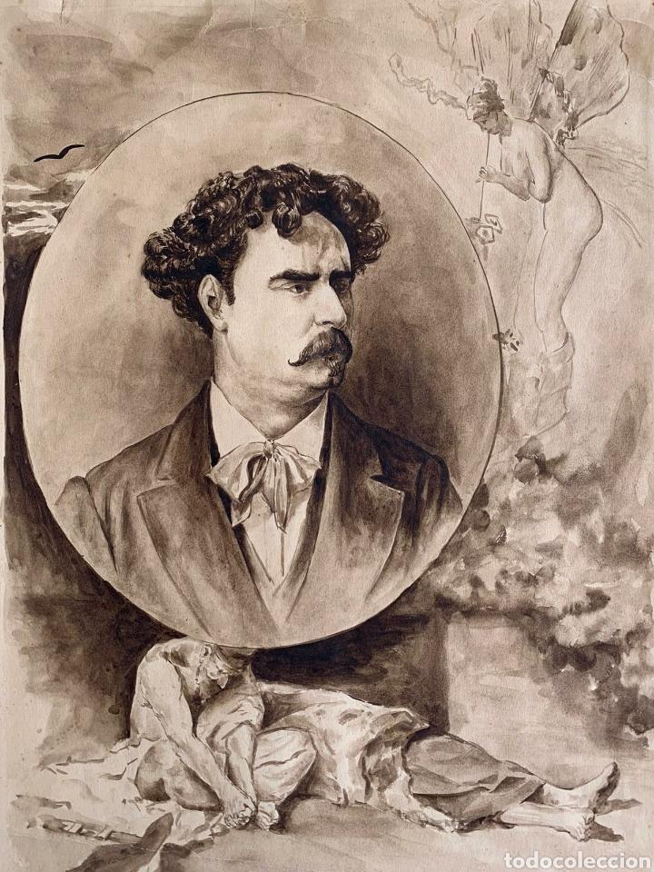 RETRATO DEL PINTOR MARIANO FORTUNY (Arte - Dibujos - Modernos siglo XIX)