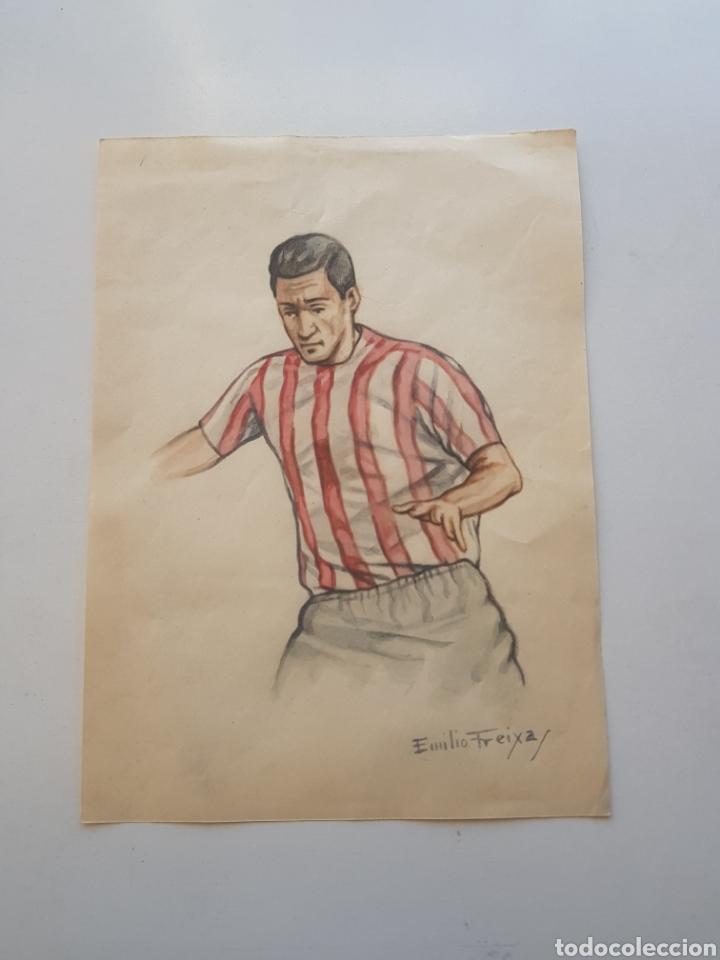 DIBUJO ORIGINAL A MANO DE EMILIO FREIXAS: JUGADOR DE FUTBOL ATLETIC DE BILBAO 1960´S (Arte - Dibujos - Contemporáneos siglo XX)