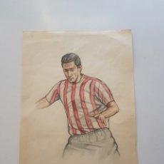 Arte: DIBUJO ORIGINAL A MANO DE EMILIO FREIXAS: JUGADOR DE FUTBOL ATLETIC DE BILBAO 1960´S. Lote 194864473
