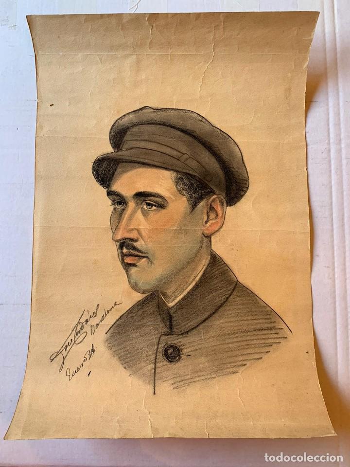 JOSEP CERDANS - RETRATO HOMBRE UNIFORMADO 1931 (Arte - Dibujos - Contemporáneos siglo XX)