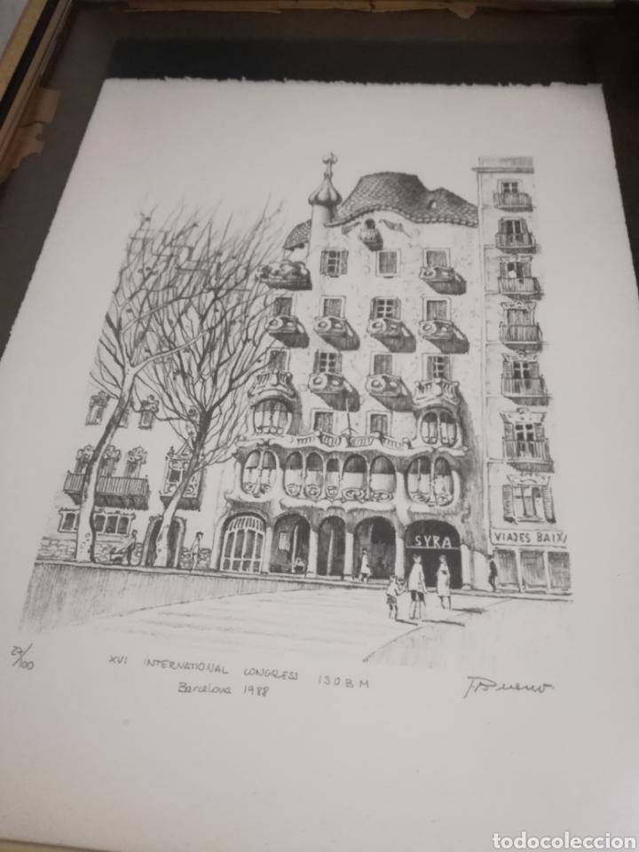 Arte: Francisco Bueno cuadro Gaudi Casa Batllo pintura numerada - Foto 5 - 194884645