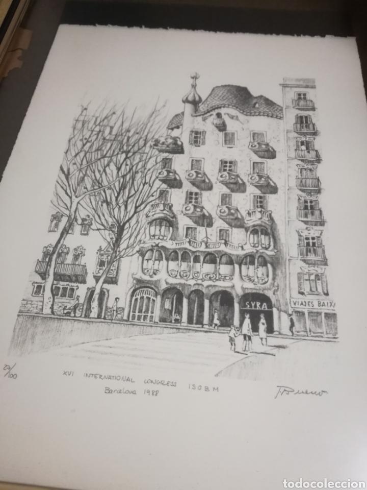 Arte: Francisco Bueno cuadro Gaudi Casa Batllo pintura numerada - Foto 6 - 194884645