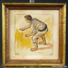 Arte: PEDRO DE VALENCIA ACUARELA Y TINTA SOBRE PAPEL PESCADOR FIRMADO Y FECHADO 1956. Lote 194962467