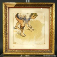 Arte: PEDRO DE VALENCIA ACUARELA Y TINTA SOBRE PAPEL PESCADOR FIRMADO Y FECHADO 1956. Lote 194962473