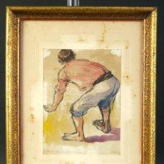 Arte: PEDRO DE VALENCIA ACUARELA Y TINTA SOBRE PAPEL PESCADOR FIRMADO Y FECHADO 1956. Lote 194962478