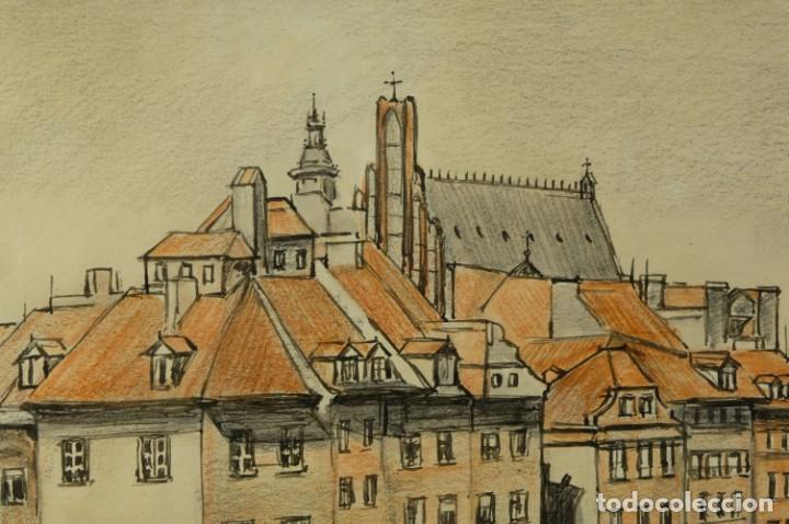 Arte: Dibujo Vista ciudad de Varsovia firmado Ribalta 1995 - Foto 3 - 194963001