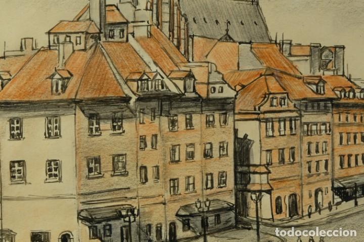 Arte: Dibujo Vista ciudad de Varsovia firmado Ribalta 1995 - Foto 4 - 194963001