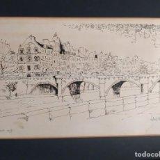 Arte: DIBUJO A TINTA,PARÍS,LE PONT DE NEUF . Lote 194981496
