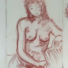 Arte: DESNUDOS FEMENINOS. DIBUJO AL PASTEL SOBRE PAPEL. SANGUINA. SIN FIRMAR. SIGLO XX. Lote 195063416