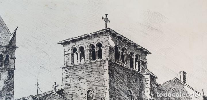 Arte: PAISAJE DE LYON. DIBUJO A TINTA SOBRE PAPEL. FIRMADO A. GUERIN. 1942. - Foto 2 - 195066165
