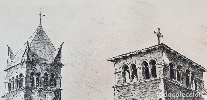 Arte: PAISAJE DE LYON. DIBUJO A TINTA SOBRE PAPEL. FIRMADO A. GUERIN. 1942. - Foto 3 - 195066165