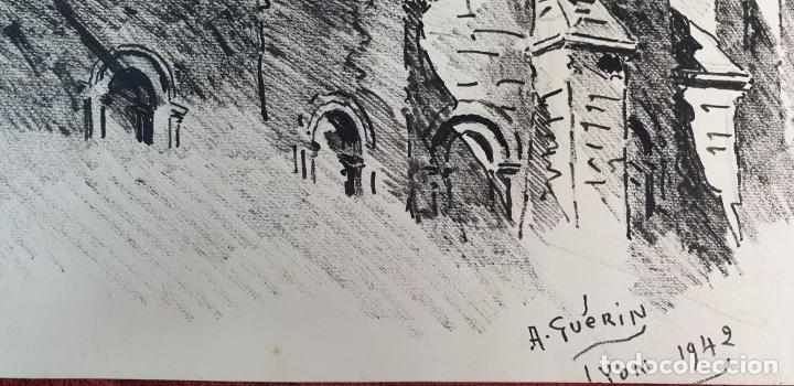 Arte: PAISAJE DE LYON. DIBUJO A TINTA SOBRE PAPEL. FIRMADO A. GUERIN. 1942. - Foto 6 - 195066165
