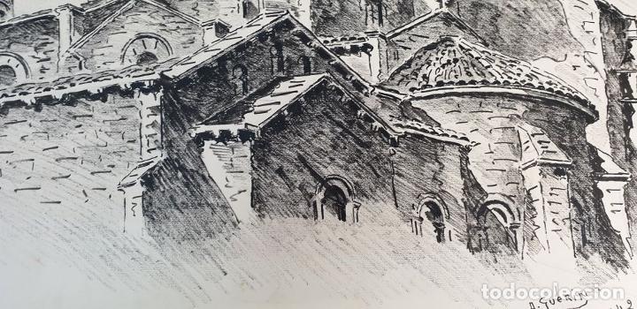 Arte: PAISAJE DE LYON. DIBUJO A TINTA SOBRE PAPEL. FIRMADO A. GUERIN. 1942. - Foto 8 - 195066165