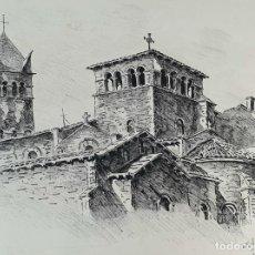 Arte: PAISAJE DE LYON. DIBUJO A TINTA SOBRE PAPEL. FIRMADO A. GUERIN. 1942. . Lote 195066165