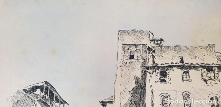 Arte: VISTA DE CALLE. DIBUJO A TINTA SOBRE PAPEL. FIRMADO A. GUERIN. CIRCA 1940. - Foto 2 - 195066813