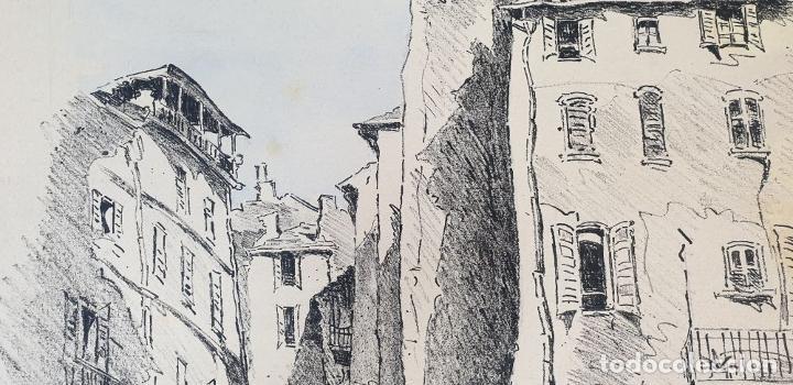 Arte: VISTA DE CALLE. DIBUJO A TINTA SOBRE PAPEL. FIRMADO A. GUERIN. CIRCA 1940. - Foto 3 - 195066813