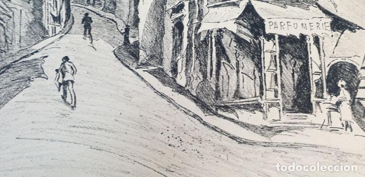 Arte: VISTA DE CALLE. DIBUJO A TINTA SOBRE PAPEL. FIRMADO A. GUERIN. CIRCA 1940. - Foto 4 - 195066813