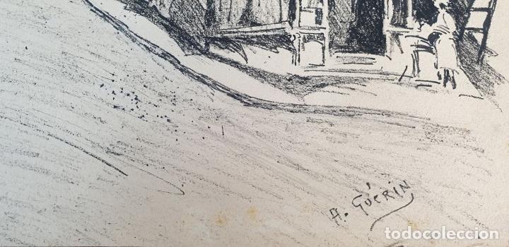 Arte: VISTA DE CALLE. DIBUJO A TINTA SOBRE PAPEL. FIRMADO A. GUERIN. CIRCA 1940. - Foto 5 - 195066813