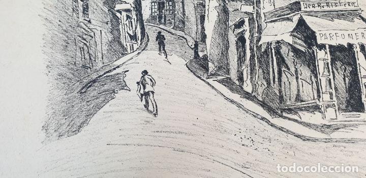 Arte: VISTA DE CALLE. DIBUJO A TINTA SOBRE PAPEL. FIRMADO A. GUERIN. CIRCA 1940. - Foto 6 - 195066813