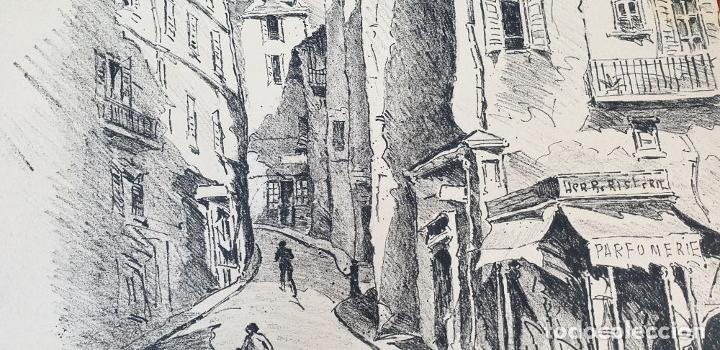 Arte: VISTA DE CALLE. DIBUJO A TINTA SOBRE PAPEL. FIRMADO A. GUERIN. CIRCA 1940. - Foto 8 - 195066813