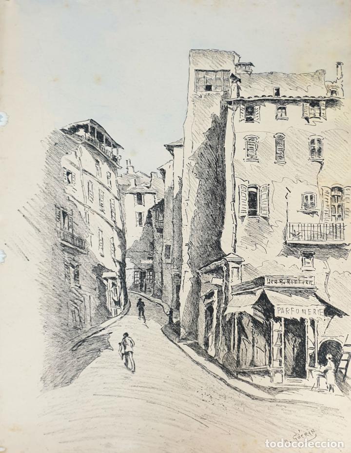 VISTA DE CALLE. DIBUJO A TINTA SOBRE PAPEL. FIRMADO A. GUERIN. CIRCA 1940. (Arte - Dibujos - Contemporáneos siglo XX)