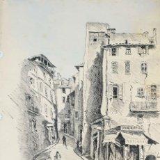 Arte: VISTA DE CALLE. DIBUJO A TINTA SOBRE PAPEL. FIRMADO A. GUERIN. CIRCA 1940. . Lote 195066813